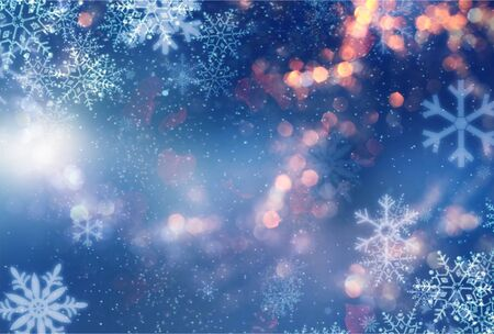 Abstract blue and white christmas background with snowflakes, snow fall and bokeh. Abstract chrismas background Stock Photo
