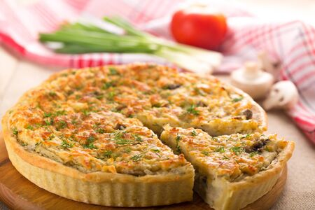 Quiche with Slice Cut Out