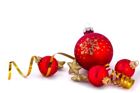 Red Christmas Baubles, Stars and Ribbon 免版税图像
