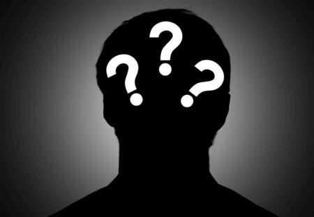 Silhouette male with question on gradient background