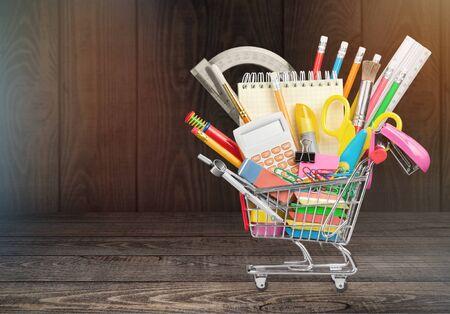 Stationery objects in mini supermarket cart 版權商用圖片