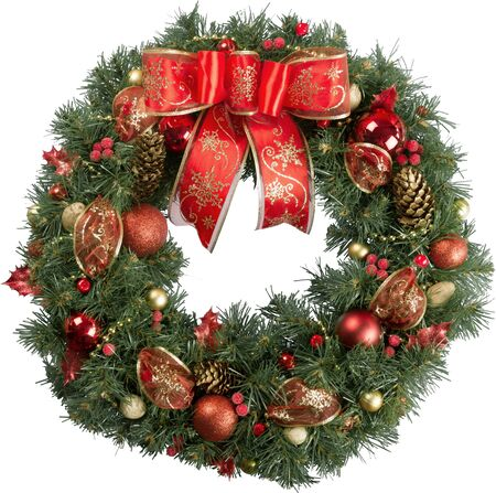 Christmas wreath made of fir tree and cones with red bow and shiny balls isolated on white 免版税图像