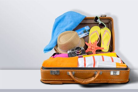 Retro suitcase with travel objects on wooden board on natural background Archivio Fotografico - 131986569