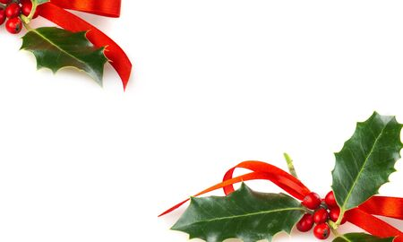 Christmas Holly with Red Ribbon 免版税图像