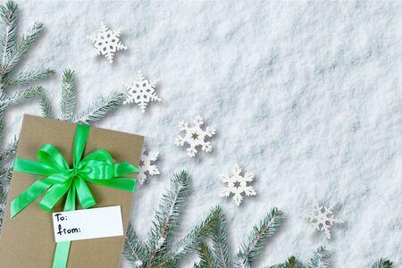 Christmas gift on the snow