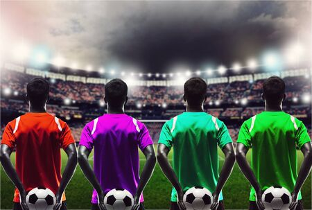 back view of soccer manager against supporters in the stadium Stock Photo