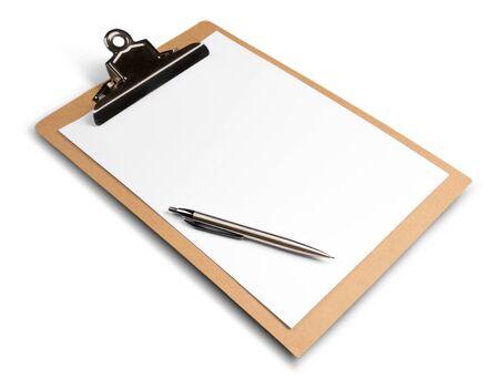 Leere Zwischenablage mit Stift