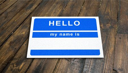 Name Tag on wooden table