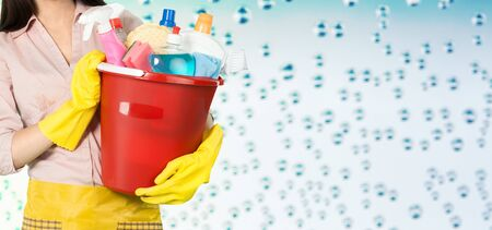 Female cleaner holding a bucket with cleaning supplies. Cleaning concept.            - Image