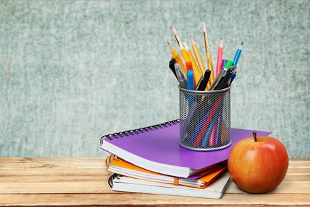 pencil box with school equipment 写真素材