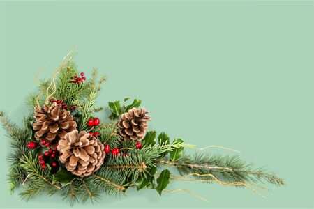 Christmas composition with pine cones and fir