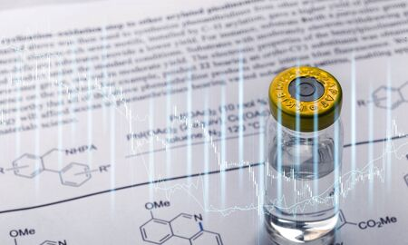 Medicine and biochemistry molecule formula written on Stock fotó