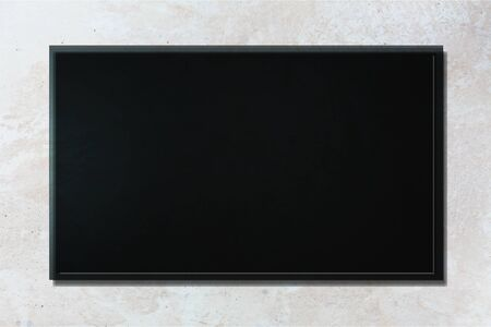 Led tv or blackboard on gray concrete wall          - Image Stock Photo