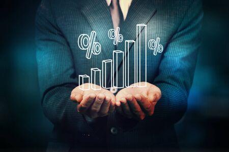 Businessman and  analytics symbol on  background Фото со стока