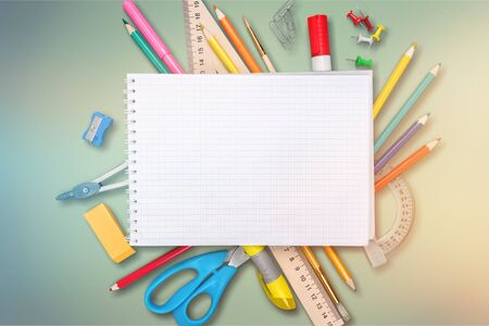 Colorful school supplies on wooden table background Stock Photo