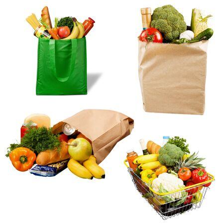 Volle Einkaufstasche, über Hintergrund isoliert Standard-Bild