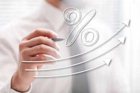 Interest arrow art boost business concept cost