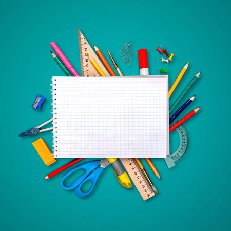Assortment  of School supplies on  background