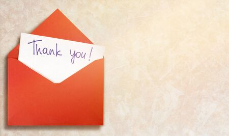 Blank card and envelope with thank you on background Stok Fotoğraf
