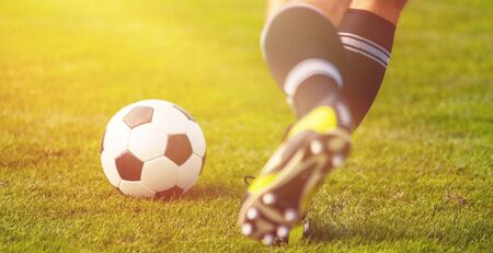 Running soccer player in football