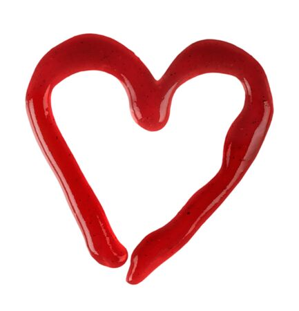Heart Symbol Made of Ketchup Isolated