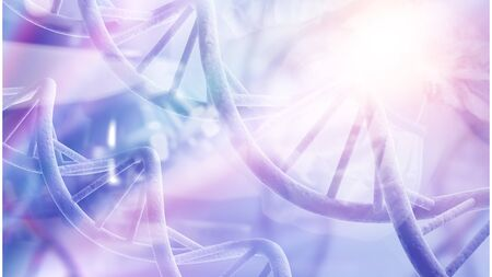 Blue DNA structure isolated background. 3D illustration Stok Fotoğraf