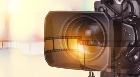 close up of television operator with camera. Banco de Imagens
