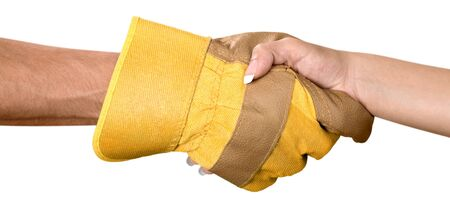 Closeup of Person with Safety Glove Shaking Hand