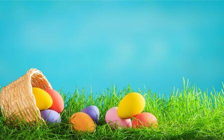 Les oeufs de Pâques peints colorés Banque d'images