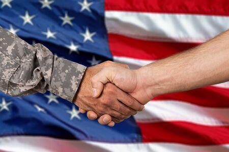 Military Handshake on american flag