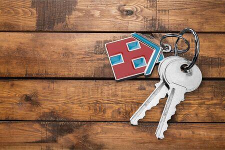 House keys on wooden desk Reklamní fotografie