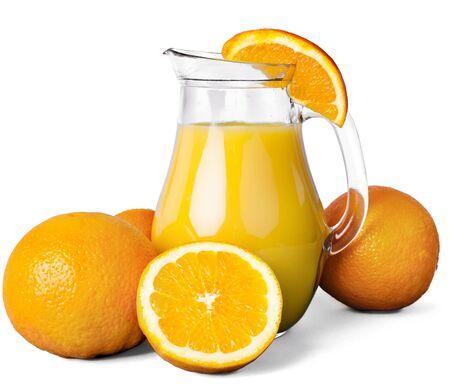 Pitcher of freshly squeezed orange juice Stok Fotoğraf