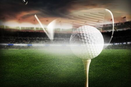 Golf wood and ball on the background of the stadium double exposure Stock fotó