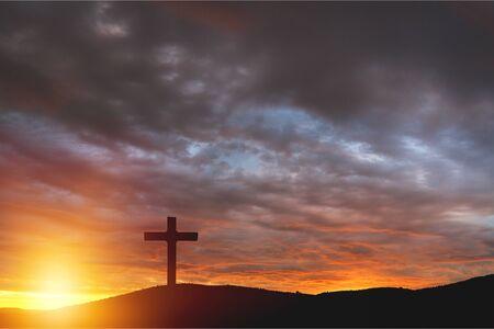 Concepto de salvación: el símbolo de la cruz cristiana y Jesucristo - Imagen