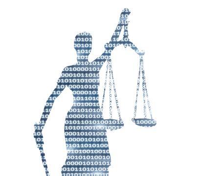 Lady justice on digital background Reklamní fotografie