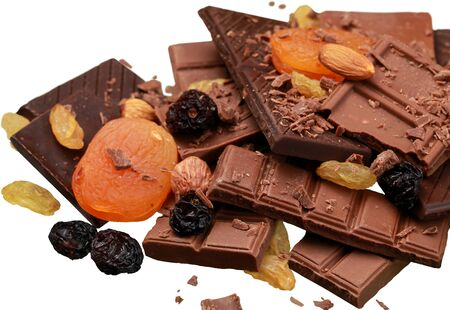 Chocolate, dried fruit and nuts Standard-Bild