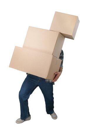 homme, porter, tas, de, tomber, boîtes