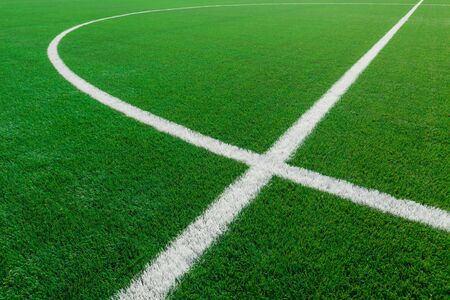 Closeup of White Stripes on a Soccer Field