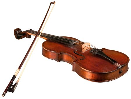 Violin with Bow, Isolated