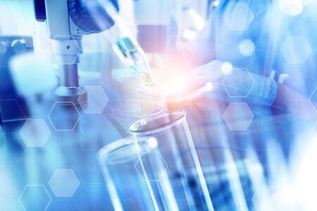 science laboratory test tubes close up Stock fotó