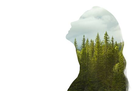 Psychology concept. Sunrise and dreamer woman silhouette. Reklamní fotografie