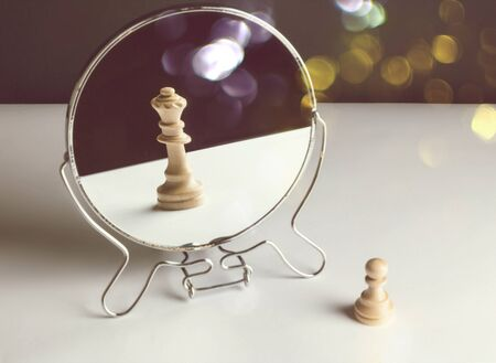 Chess Pawn Looking in the Mirror and Seeing a Queen