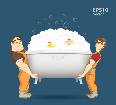 porter house: Two loaders movers holding and carrying white bathtub with kid, yellow duck and foam with bubbles. Moving services 3d creative concept and conceptual illustration. Illustration