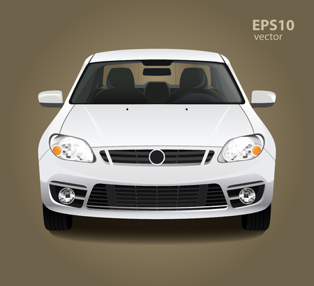 white color: New modern clean shine white car. Front side view. Vector realistic hd 3d color illustration. Photo studio light. Illustration