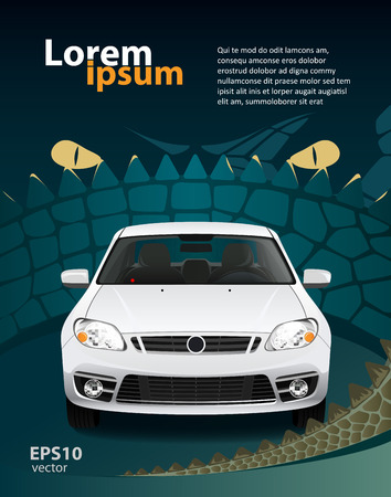 car front: Car alarm creative illustration. Dragon look. Protection security concept.