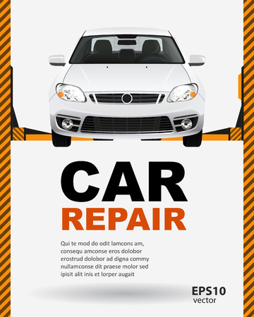 car side view: Car repair lift template layout creative color illustration background.