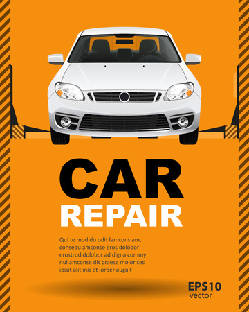 troubleshooting: Car auto repair lift. Template layout concept creative color illustration. Cover background.