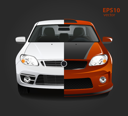 before: Car tuning color 3d creative illustration. Before and after concept.