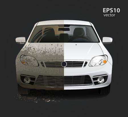personal de limpieza: Servicio de lavado de coches concepto creativo. Hd color ilustraci�n vectorial 3d detallada.