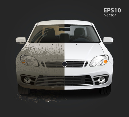 Car wash service creative concept. Hd high detailed 3d color vector illustration. Vettoriali